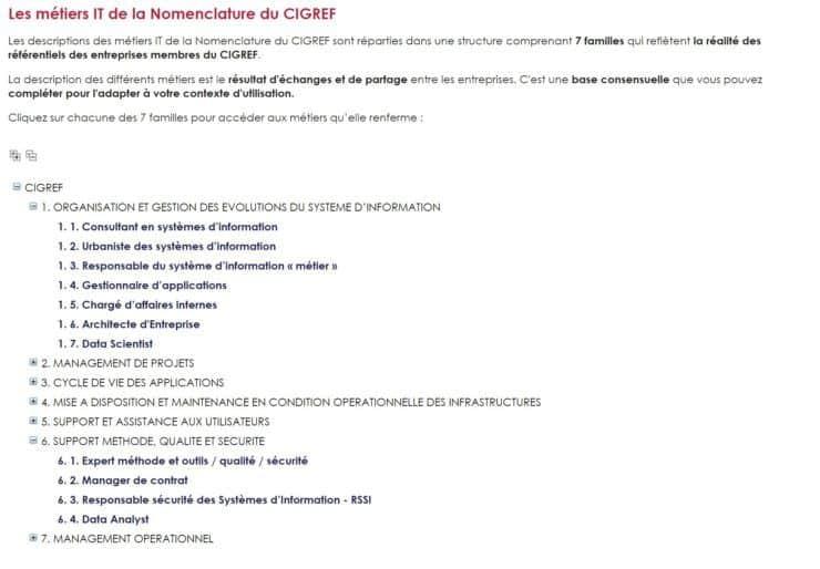 Métiers IT nomenclature CIGREF